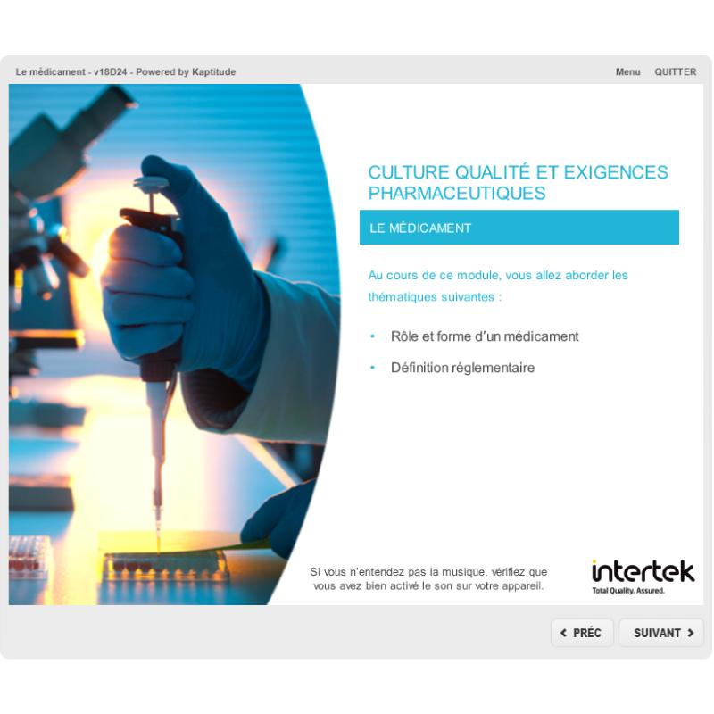 Formation e-learning assurance qualité pharmaceutique médicament