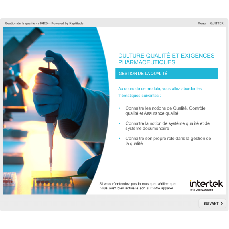 Formation e-learning gestion de la qualité pharmaceutique