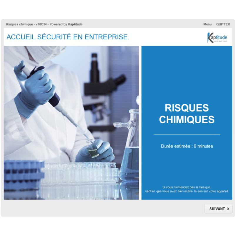 Formation e-learning HSE sécurité risques chimique, hygiène industrie pharmaceutique